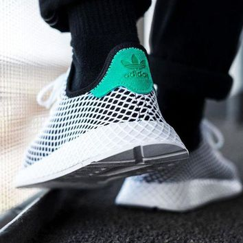 Gotopfashion Adidas Deerupt Running Shoes Runner Trifolium Mesh Sneakers B-CSXY White Surface With Green Tail