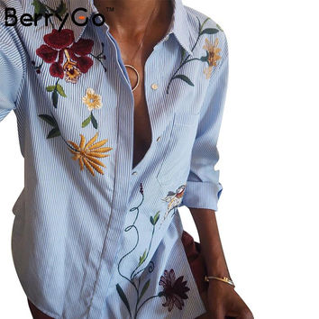 BerryGo Chic floral embroidered women blouses Winter long sleeve striped shirt women tops  Casual bird pattern chemise femme