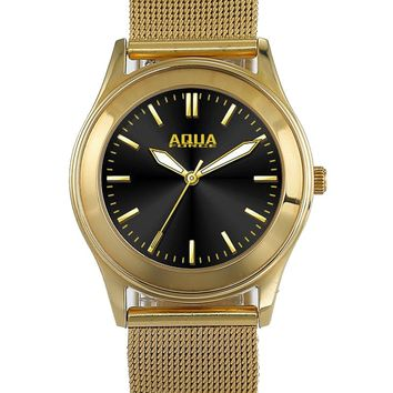 Aqua Force Elegant Black Face Womens Dress Watch w/ Gold Stainless Steel Band (30M water resistant)