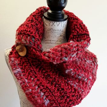 Copy of Crochet Scarf. Infinity Scarf. Infinity Cowl. Cowl. Scarf. Chunky. Katniss inspired cowl. Wood button cowl. Button scarf.