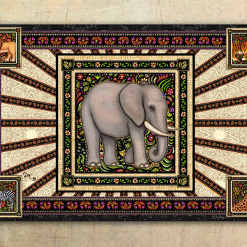 "Elephant Tapestry Wall Hanging 50""x75"" by Artist Dan Morris titled Spirit Elephant"