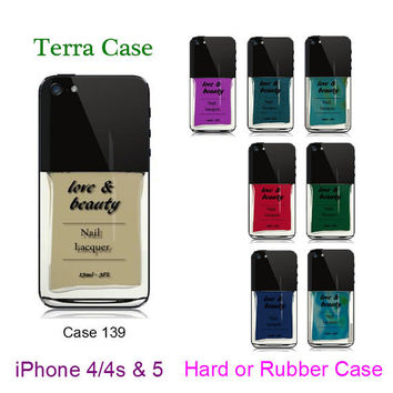 Rubber iphone 5 - Nail Polish iPhone Case - , iPhone 4 - iPhone 4s  iPhone cover, iPhone hard case- Rubber Case