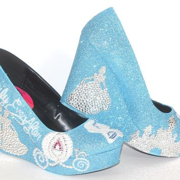 Cinderella Wedding Shoes: Blue Crystal Wedges