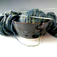 Pottery Yarn Bowl, Knitting Bowl, Knitter's Bowl, Crochet Bowl, Denim Blue Yarn Bowl