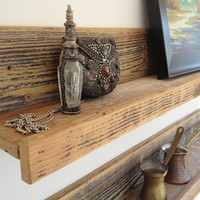 Two 24 inch rustic wall-mounted reclaimed wood shelves for the home, studio, office, retail store -- upcycled recycled repurposed