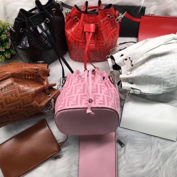"""Fendi"" All-match Fashion Circular Letter Bucket Bag Chain Single Shoulder Messenger Bag Women Flip Small Square Bag"
