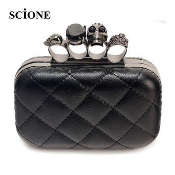 Black Skull Knuckle Rings Handbag Clutches Evening Bag Vintage Skull Purse Luxury Bag Ladies Hand Bags With Chain Bolsas 11t