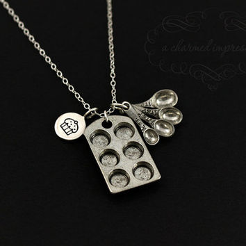 Baking Necklace, Gourmet Kitchen, Foodie, Cupcake, Cute Little Silver Charm Necklace, Tiny Muffin Pan & Measuring Spoons, Baker Jewelry