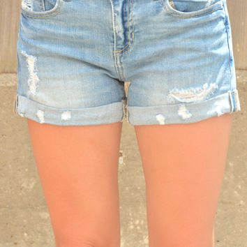 Sip Of Summertime Shorts - Light Wash