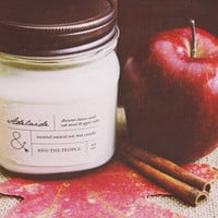 ADELAIDE // Autumn leaves, apple cider, and oak wood // 8 Ounce Scented Natural 100% Soy Wax Rustic Mason Jar Container Candle