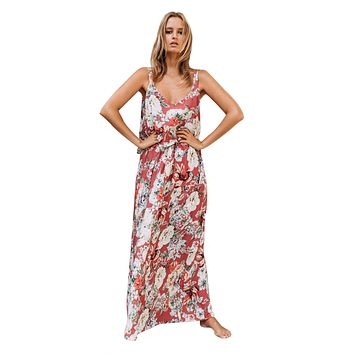 Chic Summer Boho Floral Maxi Dress in Pink