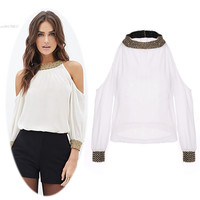 New Women Sexy Fashion chiffon Tops Off the Shoulder Long Sleeve Sequins Stand Collar Shirt Roupas 63