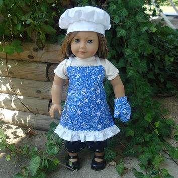 18 Inch Doll Clothes, Apron, Chef's Hat, Oven Mitt for American Girl Dolls, Chef's Set, Blue with Snowflakes, Winter, Christmas Apron