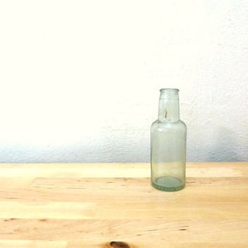 Vintage Small Glass Bottle / Tournades Kitchen Bouquet / Antique Glass / Aqua Glass Bottle / Single Flower Vase / Country Cottage Decor