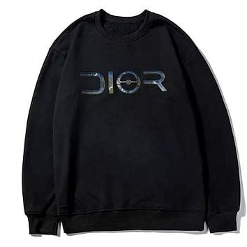 DIOR 2019 new laser sequin logo printing letter round neck sweater Black
