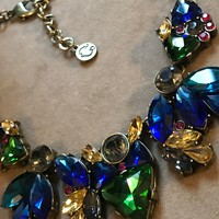 A Vibrant Designer Signed Statement Necklace Of Big Chunky Colorful Blue Green & Red Rhinestone Gems