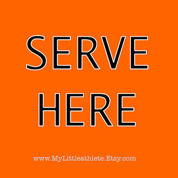 SERVE HERE - Adult T Shirt, Orange Volleyball Serve T-Shirt