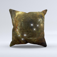 Glowing Gold Universe Ink-Fuzed Decorative Throw Pillow