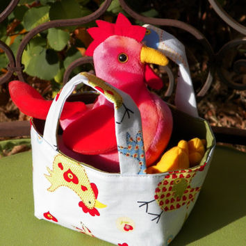 Red Rooster and Happy Hens Teeny Tote Bag Including Plush toy