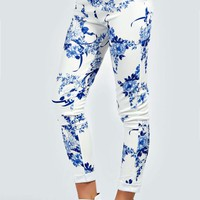 Amiee Porcelain Print Side Zip Skinny Treggings
