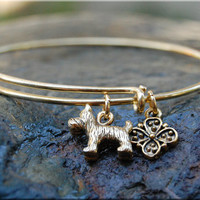 Scottish Terrier Expandable Bangle bracelet, Dog Bangle, Adjustable stacking bangle, Dog jewelry, stacking bangle, Gold Terrier Bracelet