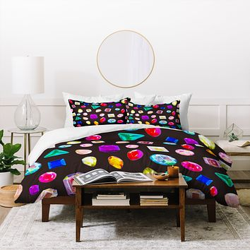 Natalie Baca Rhinestone Reverie In Black Duvet Cover