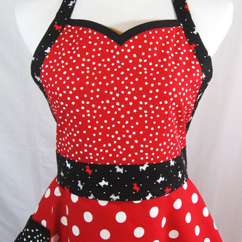 Christmas Scotty Dog Sweetheart Apron in Red Black Polka Dot Cotton, Puppy Applique, Handmade in USA