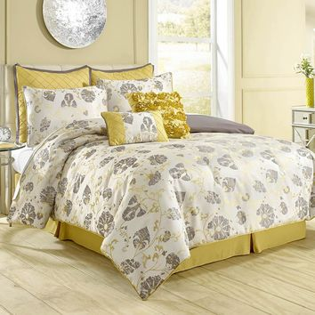 Vintage Floral 8 Piece Comforter Set - Bed in a Bag