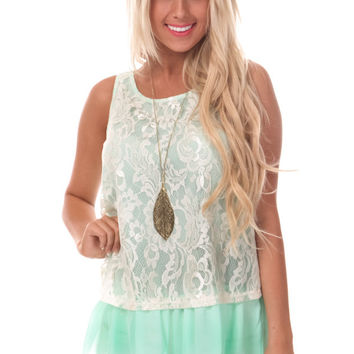 Sweet Mint Chiffon Tank with Lace Overlay