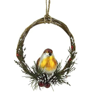 """Set of 2 Frosted Brown Bird with Yellow Breast Sitting in a Twig  Berry and Pinecone Wreath Ornaments 4"""""""