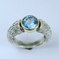 Sterling silver and yellow gold ring with blue by artisanimpact