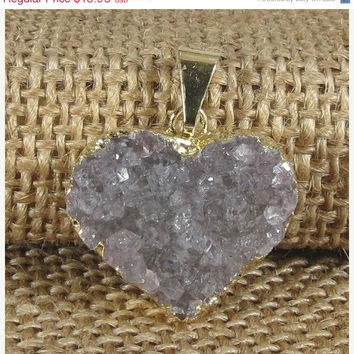 SHOP SALE Pink Druzy Heart with Gold Edge – Druzy Crystal Excellent Quality Druzy Pendant