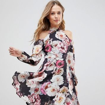 Jessica Wright Cold Shouder Floral Skater Dress at asos.com