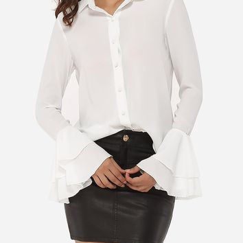 Single Breasted Mandarin Sleeve Polo Collar Blended Hollow Out Plain Blouse
