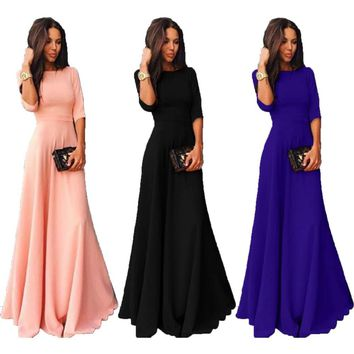 04ab1fa7f4 Womens Long Chiffon 3 4 Sleeve Cocktail Formal Party Prom Ball G