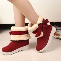 New Arrival  Women Boots Solid Bowtie Slip-On Soft Cute Women Snow Boots Round Toe Flat with Winter Shoes AA264
