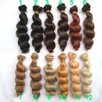 Curly doll wig hair brown flaxen coffee black brown natural color high temperature  for 1/3 1/4 1/6 BJD diy 1pcs 15cm x 100cm