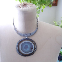 Raw Stone Necklace - Boho Collar Statement Necklace - Agate Slice