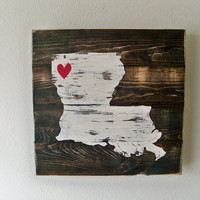 Love Louisiana Wooden Wall Art Hanging