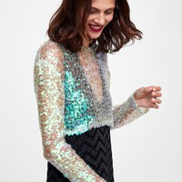 CROPPED TOP WITH SEQUINSDETAILS