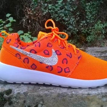 blinged nike roshe run leopard sneakers athletic sport womens shoes orange color custo