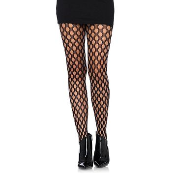Open To New Ideas Black Oval Fishnet Tights Stockings Hosiery