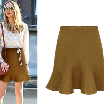 Plain Ruffle Hem Mini Skirt