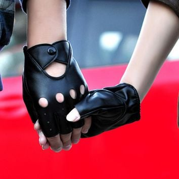 Women Half Finger Gloves Biker Driving Leather Gloves For Women and Men Black Summer Gothic Punk Style Fingerless Gloves