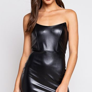 It's Tricky Black PU Faux Leather Strapless Bodycon Mini Dress