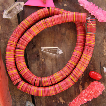 Warm Neon Vintage African Vinyl Record Beads, Necklace, Pink, Yellow, Red, Multi,15x.5mm Tribal Statement Necklace, Beads for Making Jewelry