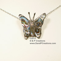 Abalone Butterfly on Sterling Silver, Sterling Silver Chain Necklace