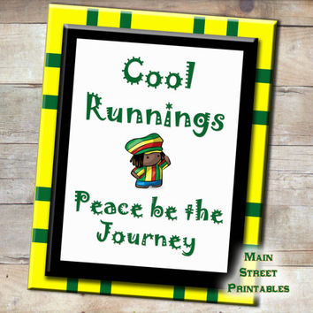 Cool Runnings, Jamaican, Peace Be the Journey, Disney, Poster Art Printable, 8 X 10 Print Wall Art Decor Poster, INSTANT DOWNLOAD