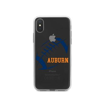 DistinctInk® Clear Shockproof Hybrid Case for Apple iPhone / Samsung Galaxy / Google Pixel - Auburn Football - Orange, Blue