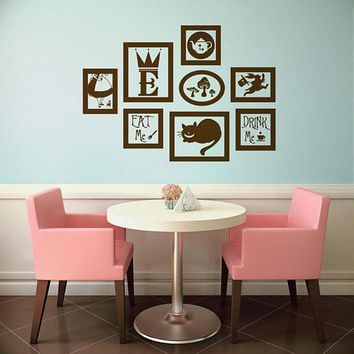 Alice In Wonderland Vinyl Wall Decal Frames Kit With Customized Initial Wall Sticker Waterproof Mural DIY B674